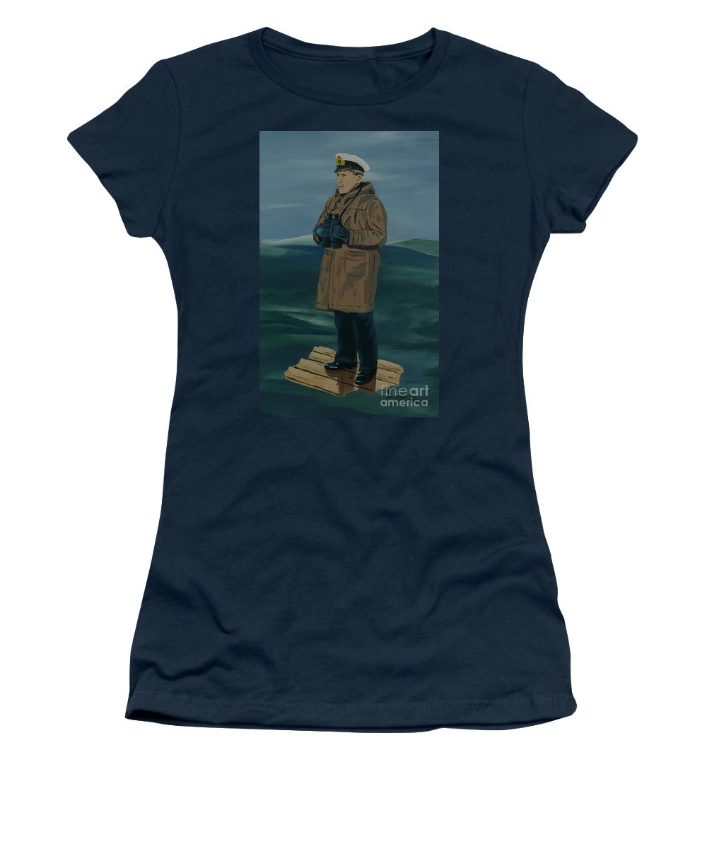 Captain Women's T-Shirt (Athletic Fit) featuring the painting The Captain by Anthony Dunphy