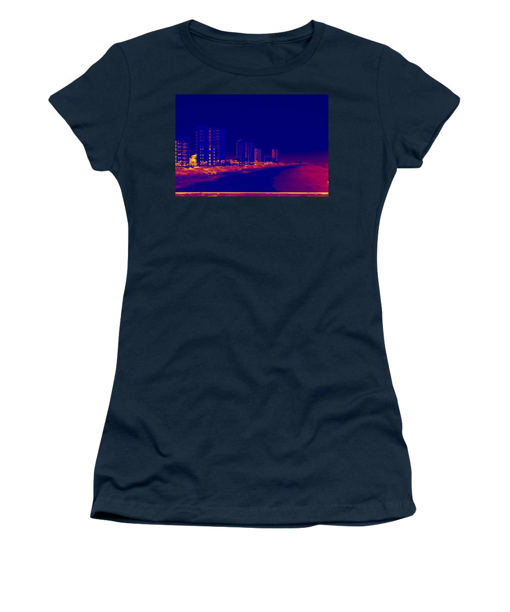 Beach Women's T-Shirt featuring the photograph The City At The Beach by Anthony Walker Sr