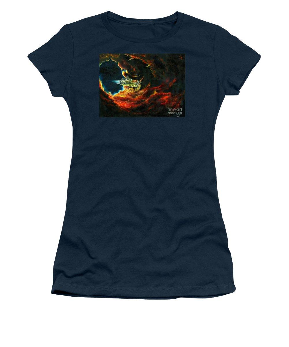 Devil Women's T-Shirt featuring the painting The Devil's Lair by Murphy Elliott