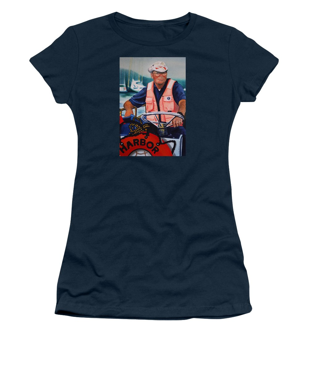 The Harbor Master Women's T-Shirt featuring the painting The Harbor Master by Joy Bradley