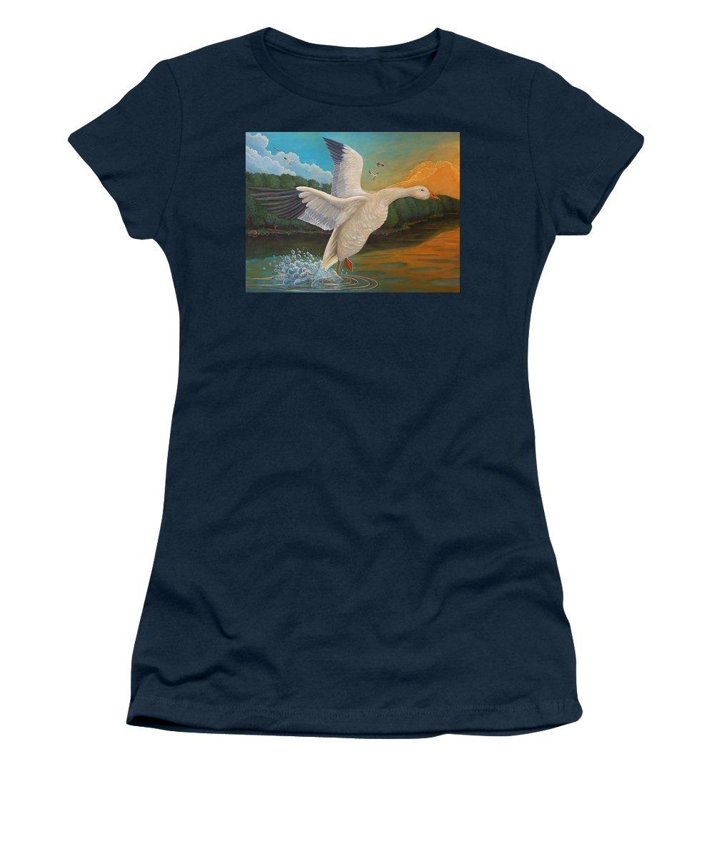 Rick Huotari Women's T-Shirt featuring the painting The Landing by Rick Huotari