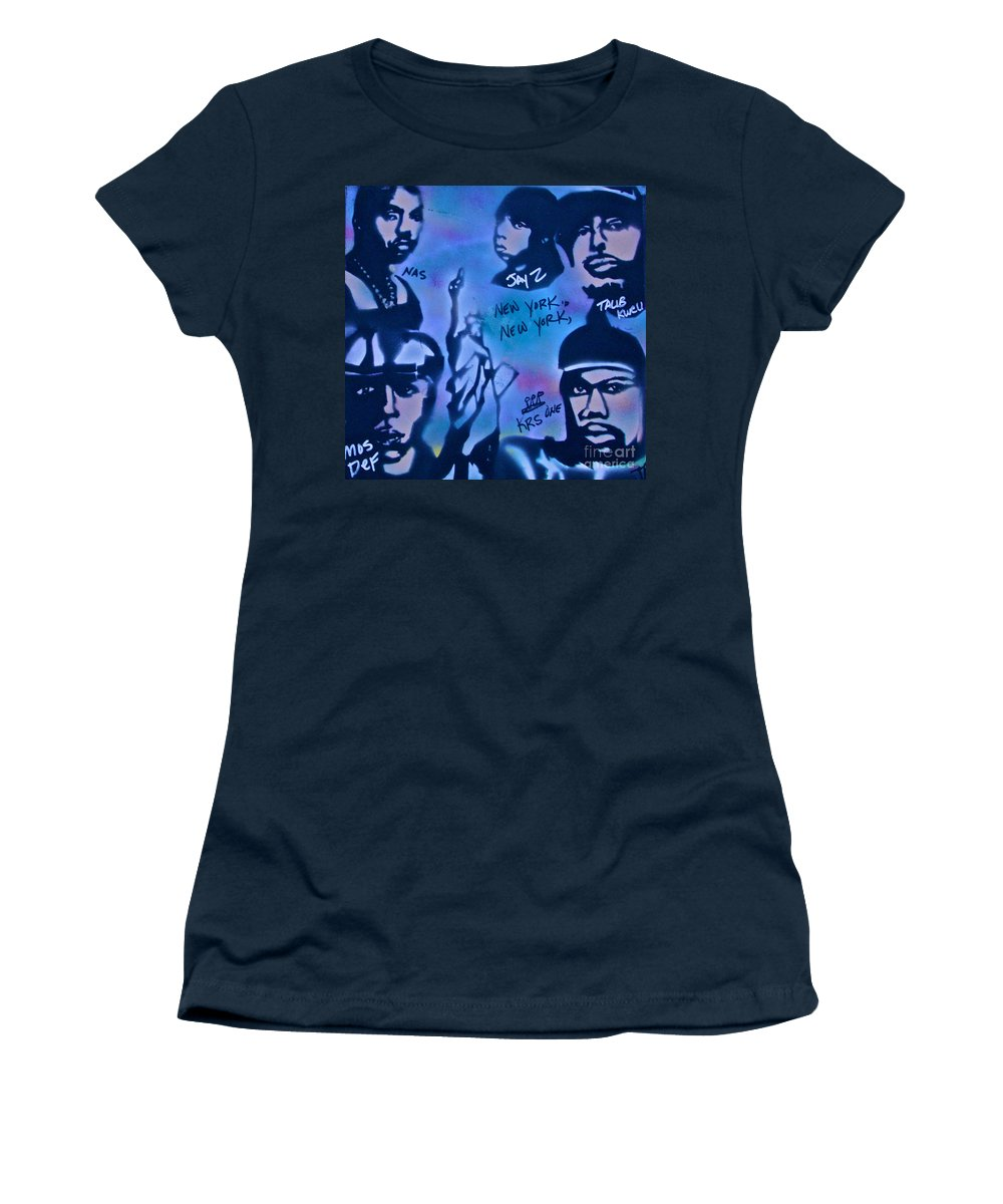 Hip Hop Women's T-Shirt featuring the painting The Nyc Side by Tony B Conscious
