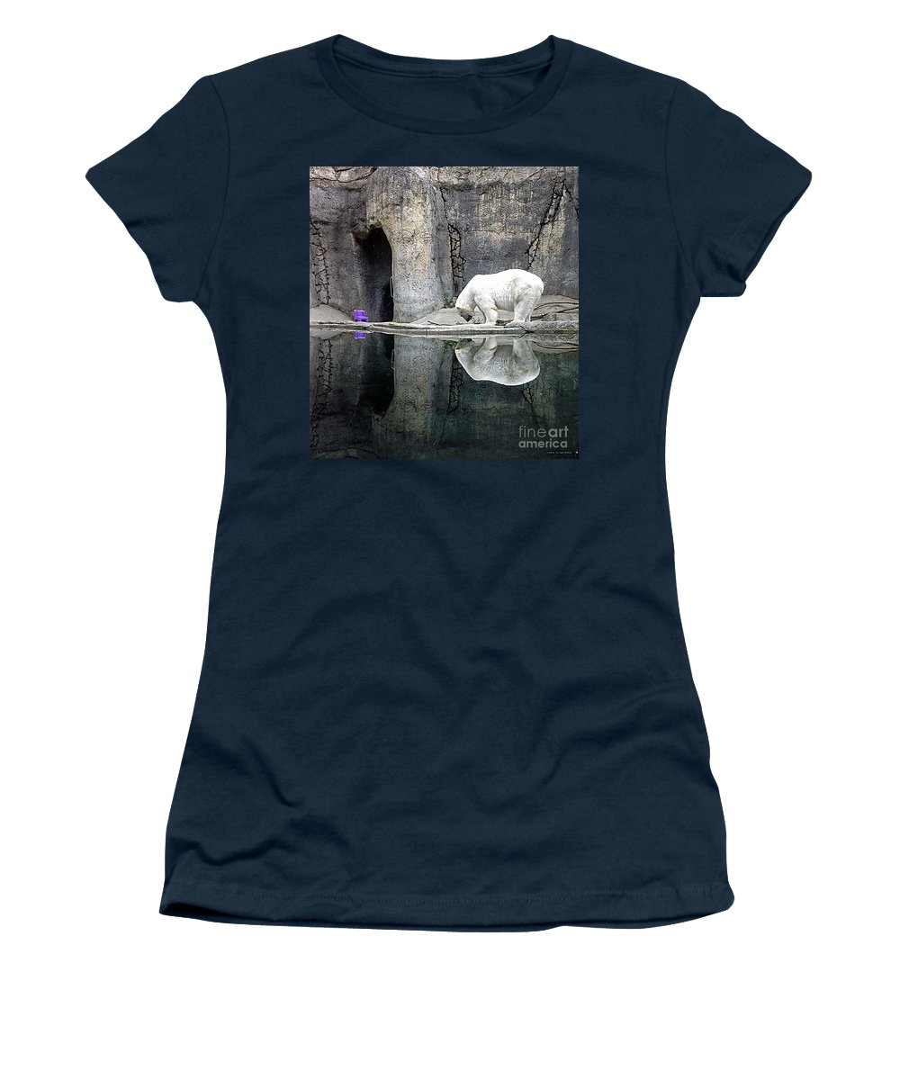 Polar Bear Women's T-Shirt featuring the photograph The Polar Bear And The Purple Chair by Gwyn Newcombe