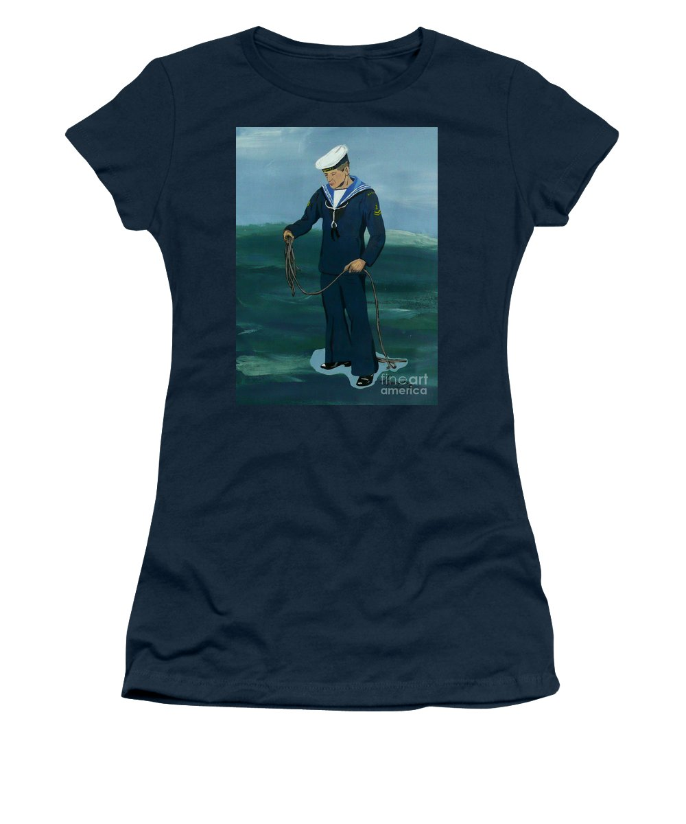 Sailor Women's T-Shirt (Athletic Fit) featuring the painting The Sailor by Anthony Dunphy
