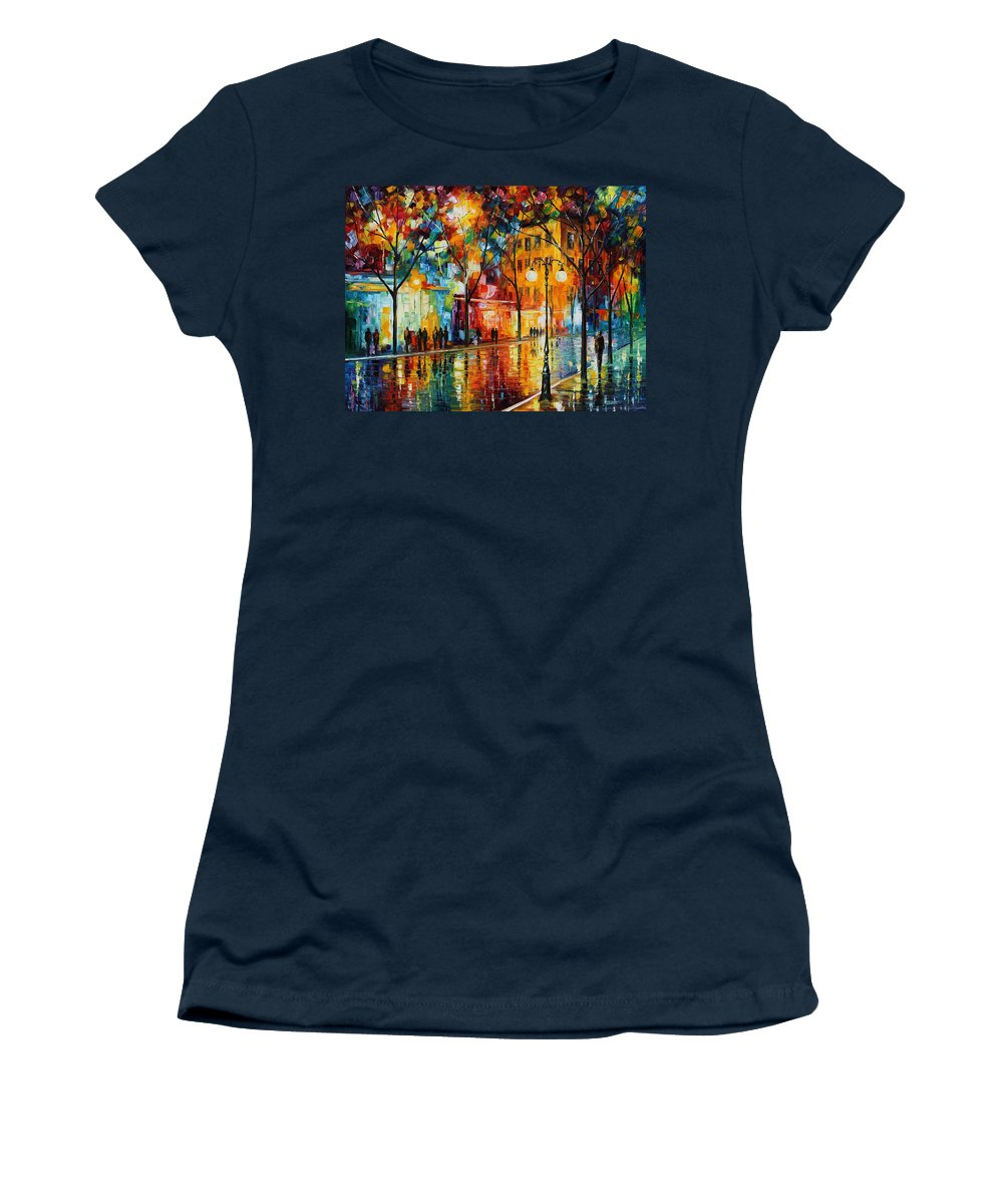 Leonid Afremov Women's T-Shirt featuring the painting The Tears Of The Fall - Palette Knife Oil Painting On Canvas By Leonid Afremov by Leonid Afremov