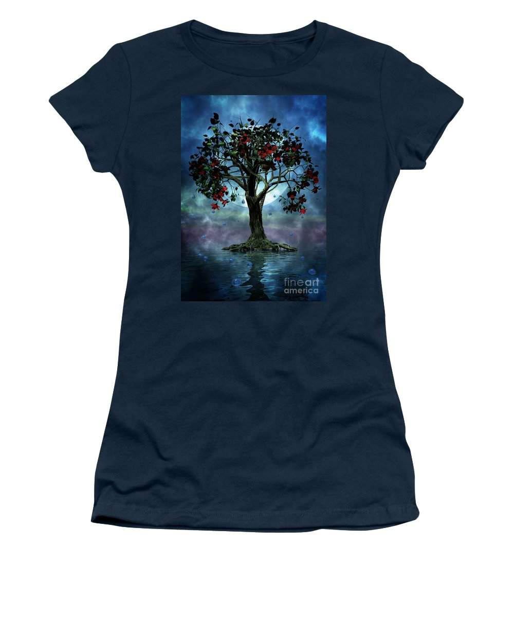 Fantasy Tree Women's T-Shirt (Athletic Fit) featuring the painting The Tree That Wept A Lake Of Tears by John Edwards