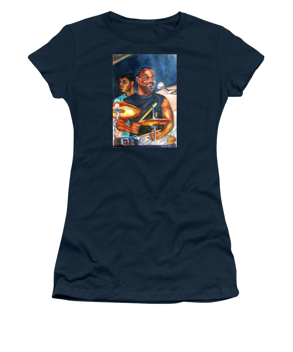 Drums Women's T-Shirt featuring the painting Tiger On Drums by Beverly Boulet