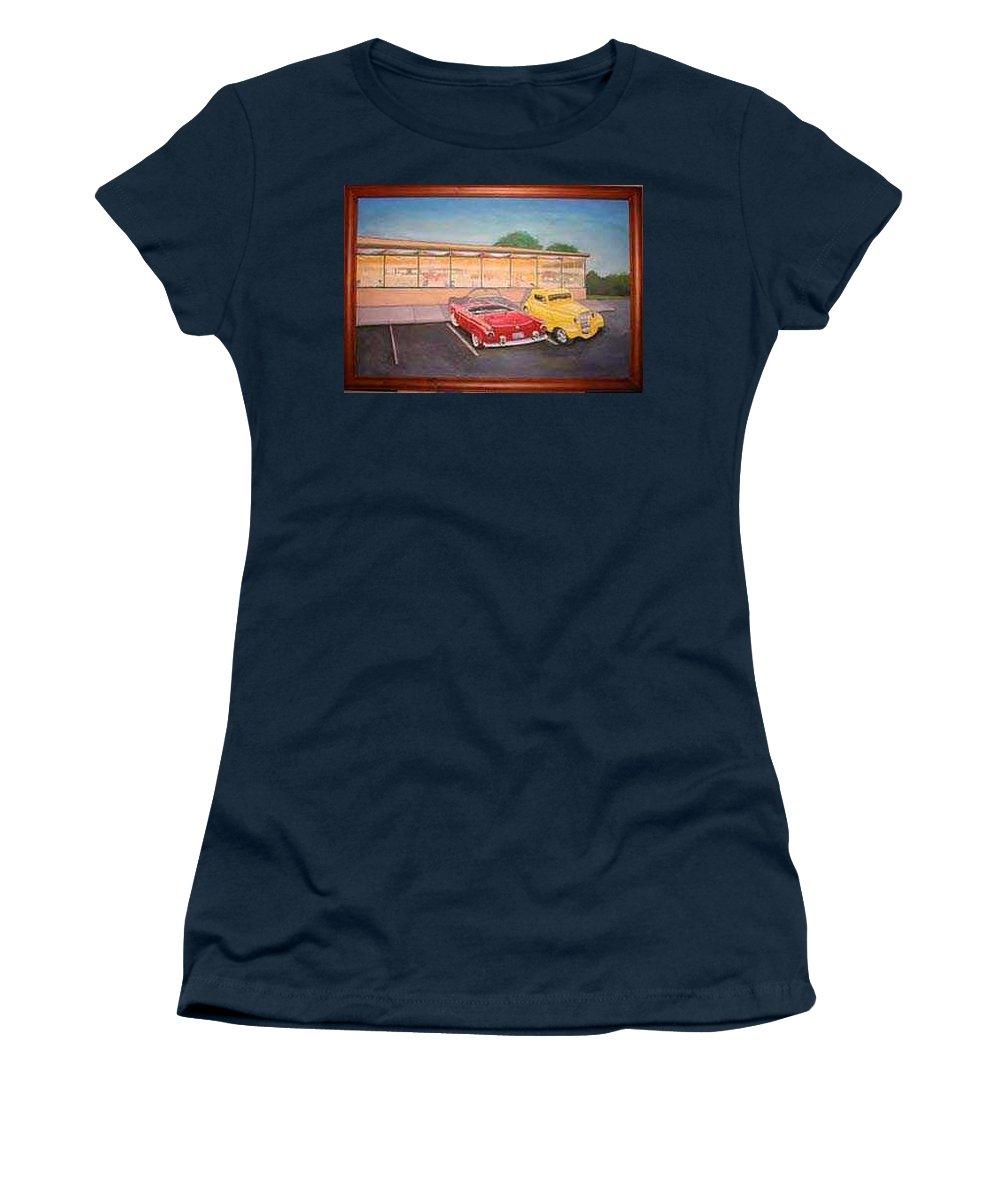 Rick Huotari Women's T-Shirt featuring the painting Times Past Diner by Rick Huotari