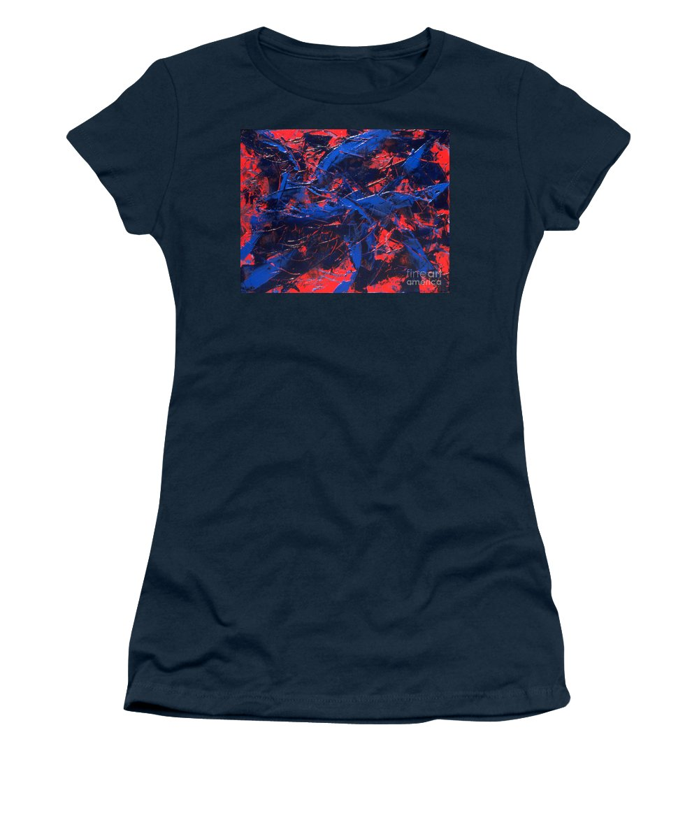 Abstract Women's T-Shirt (Athletic Fit) featuring the painting Transitions Iv by Dean Triolo