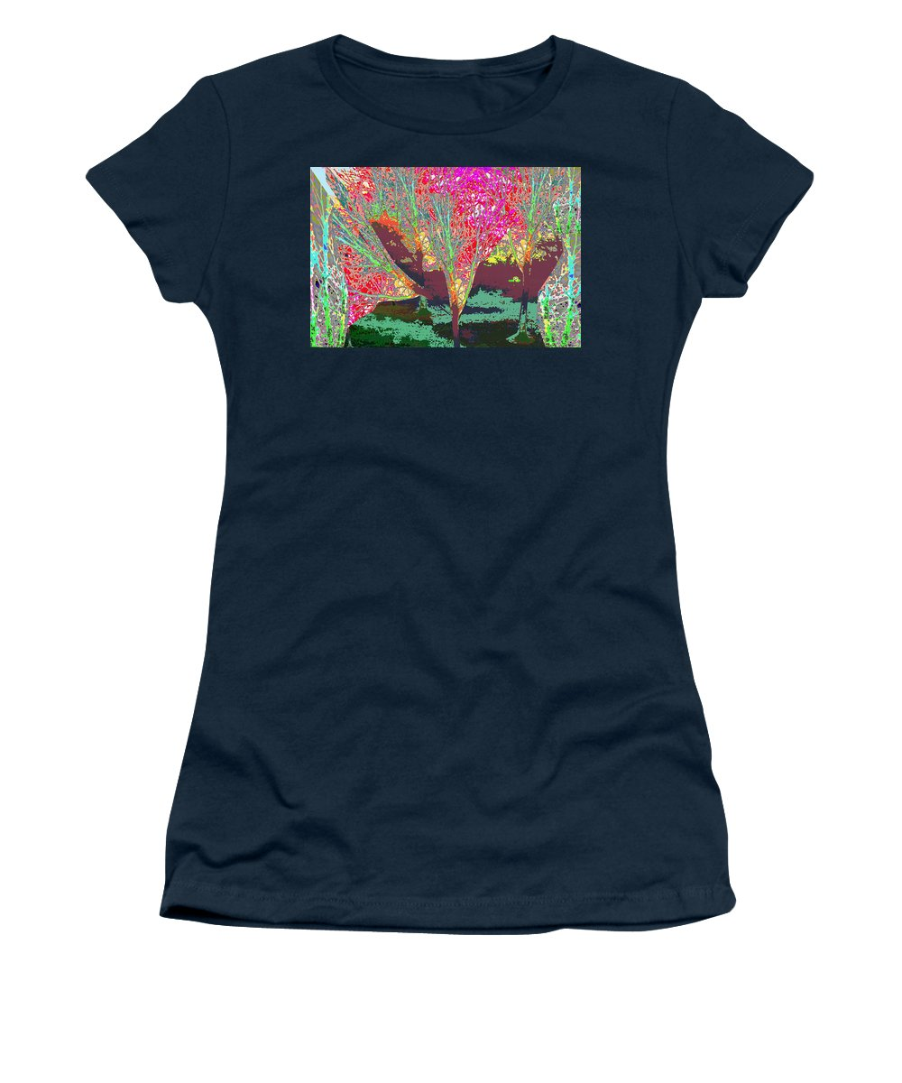 Trees Women's T-Shirt (Athletic Fit) featuring the mixed media Trees Around Faal Season Digitally Painted Photograph Taken Around Poconos Welcome To The Pocono M by Navin Joshi
