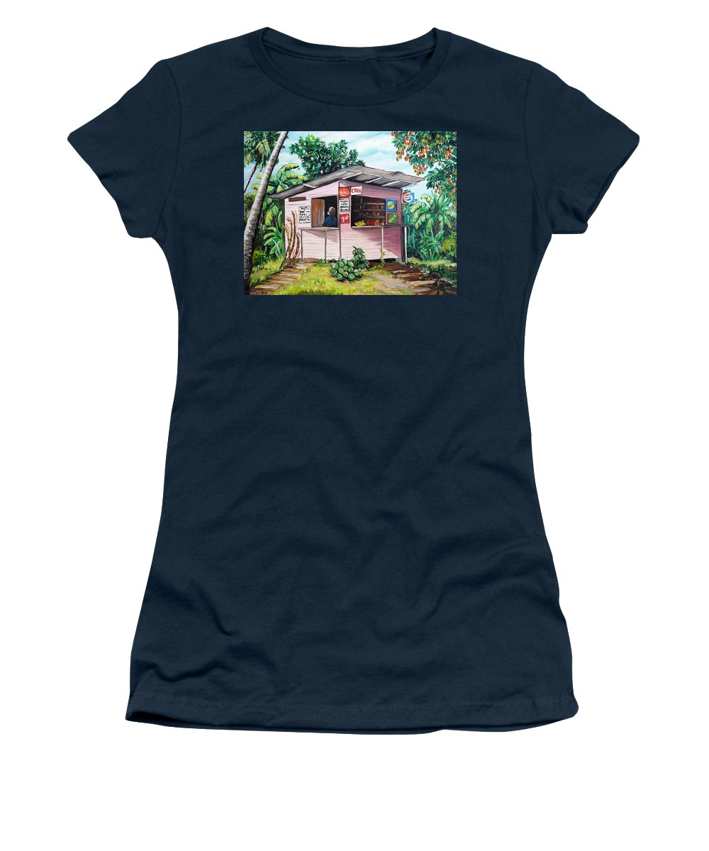 Shop Painting Women's T-Shirt featuring the painting Trini Roti Shop by Karin Dawn Kelshall- Best