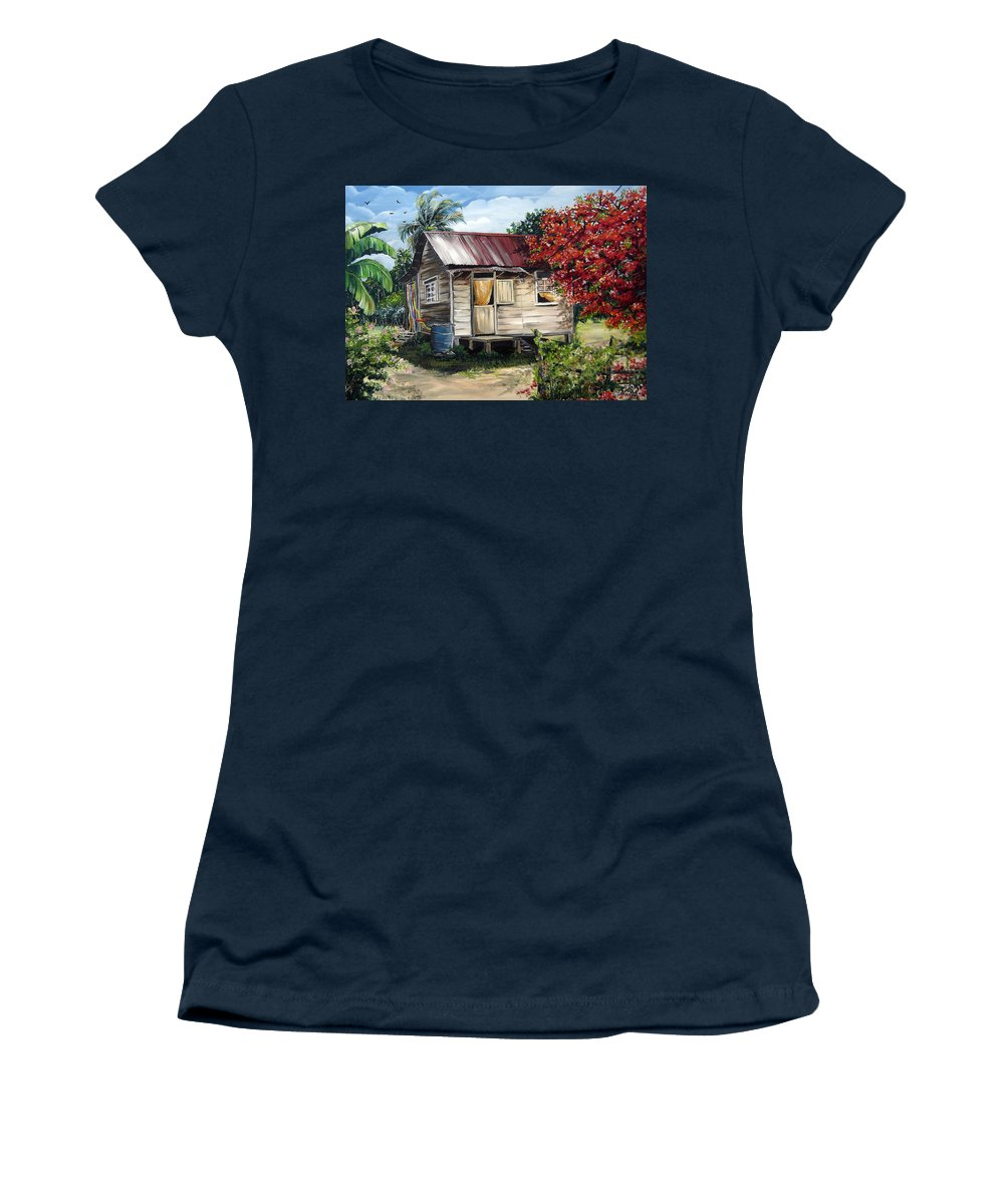 Landscape Paintings Tropical Paintings Trinidad House Paintings House Paintings Country Painting Trinidad Old Wood House Paintings Flamboyant Tree Paintings Caribbean Paintings Greeting Card Paintings Canvas Print Paintings Poster Art Paintings Women's T-Shirt featuring the painting Trinidad Life 1 by Karin Dawn Kelshall- Best