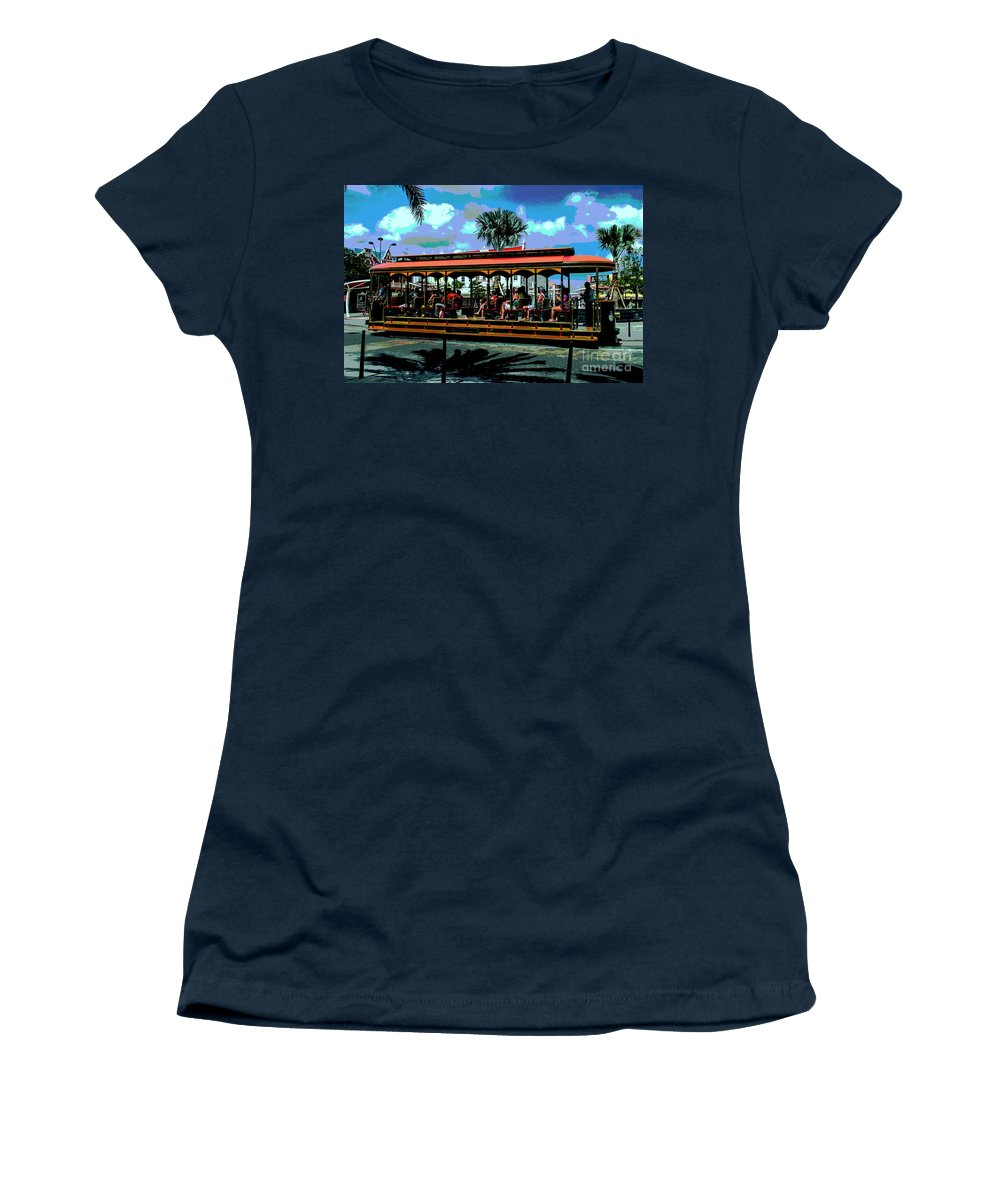 Aruba Women's T-Shirt (Athletic Fit) featuring the photograph Trolley Stop by Judy Wolinsky