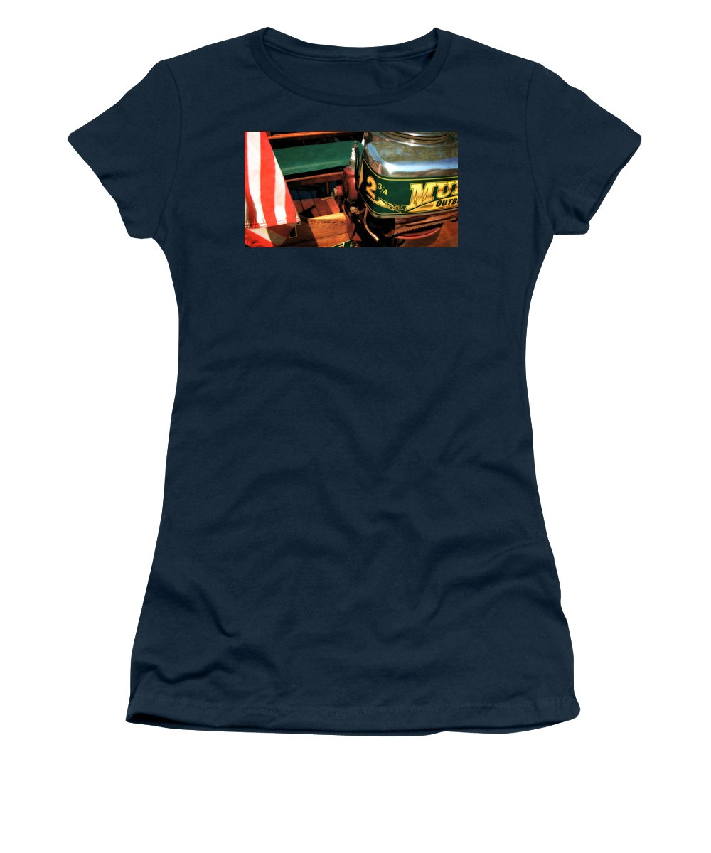 Muncie Gear Company Women's T-Shirt featuring the photograph Two And Three Quarters Hp Muncie Outboard Motor by Michelle Calkins