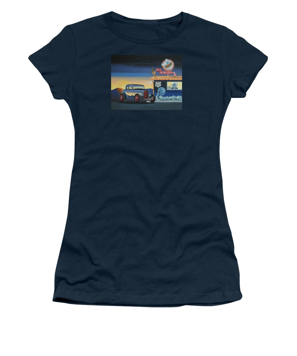 Hot Rod Women's T-Shirt (Athletic Fit) featuring the painting U.f.o. Burgers by Stuart Swartz