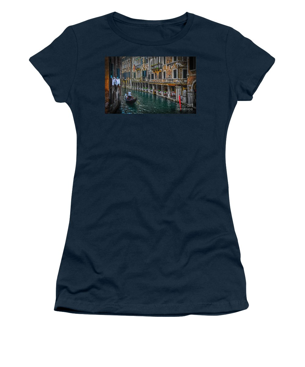 Venice Women's T-Shirt featuring the photograph Venice Canal 7 by Paul and Helen Woodford