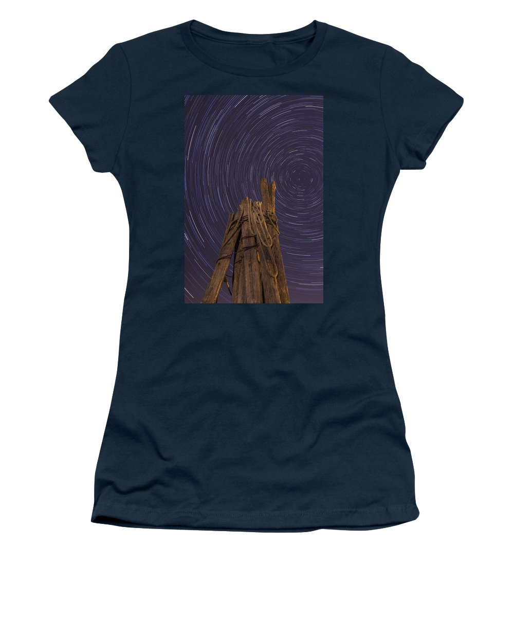 Vermont Women's T-Shirt featuring the photograph Vermont Night Star Trail Wood Pier by Andy Gimino