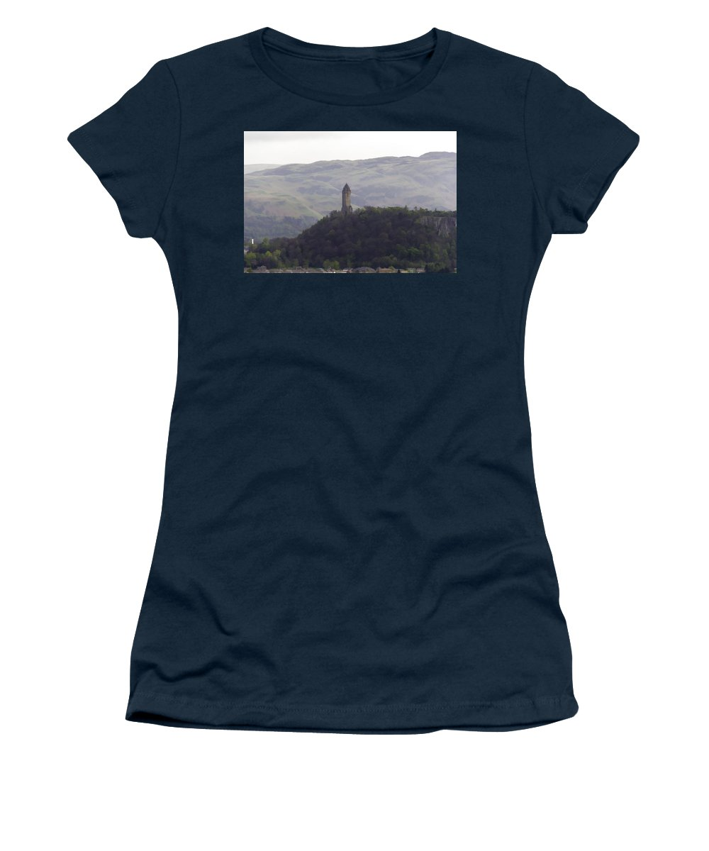 Building Women's T-Shirt featuring the photograph View Of Wallace Monument From The Heights Of The Stirling Castle by Ashish Agarwal