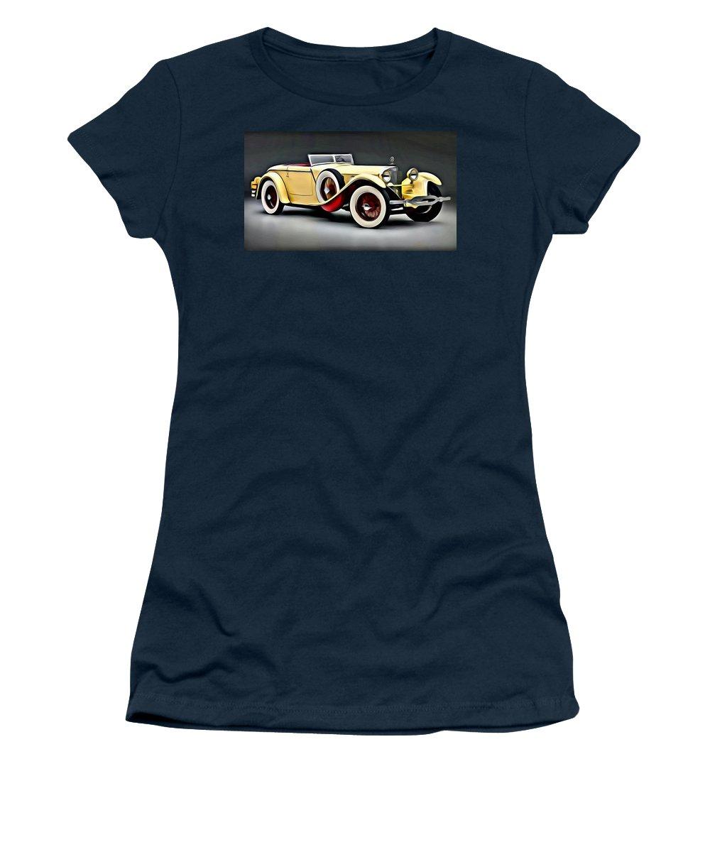 Car Women's T-Shirt featuring the painting Vintage Mercedes Convertible by Florian Rodarte