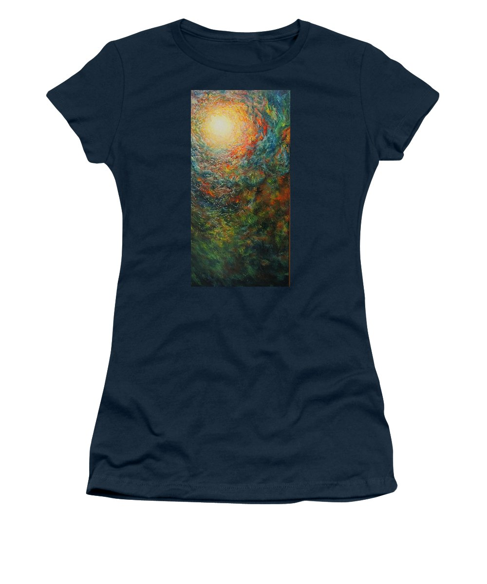 Sun Women's T-Shirt featuring the painting Volcano Under Water by Karma Moffett