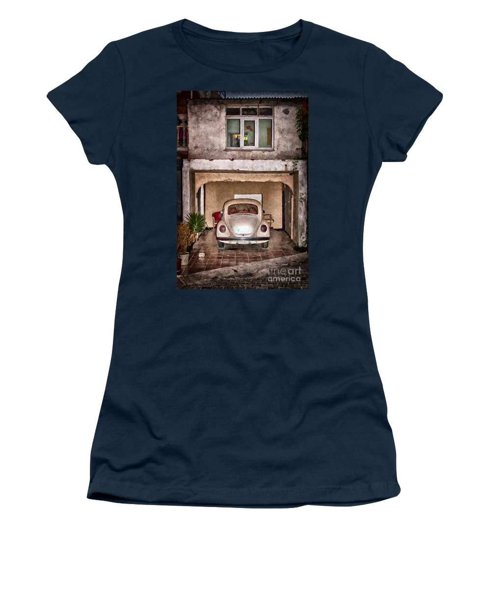 Car Women's T-Shirt featuring the painting Vw Beetle Painting by Antony McAulay