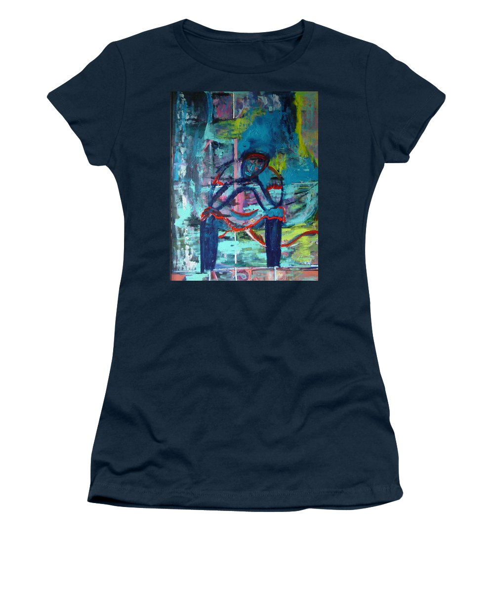 Woman On Bench Women's T-Shirt featuring the painting Waiting by Peggy Blood