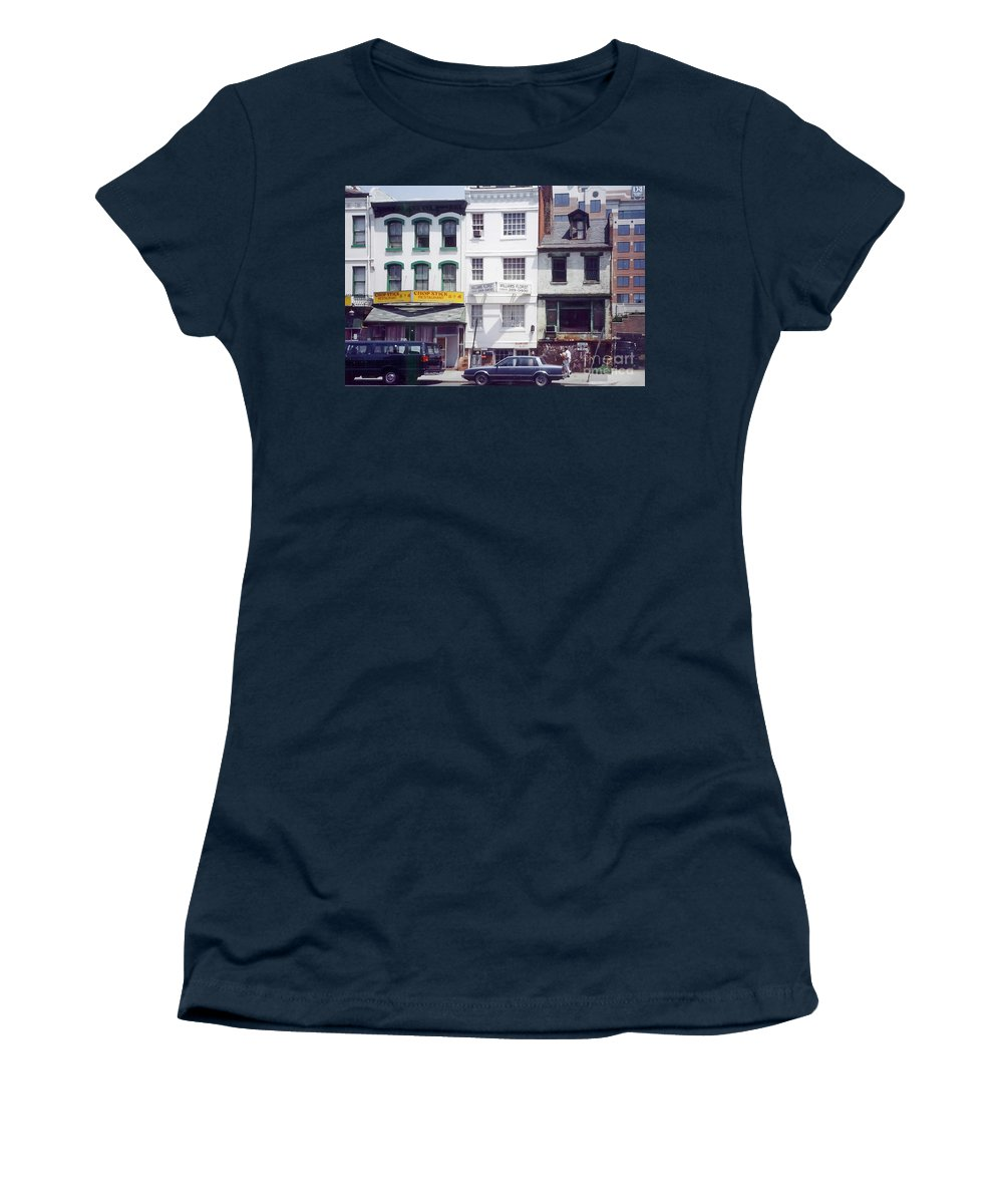 View Of Washington's Chinatown In The 1980s. Women's T-Shirt featuring the photograph Washington Chinatown In The 1980s by Thomas Marchessault