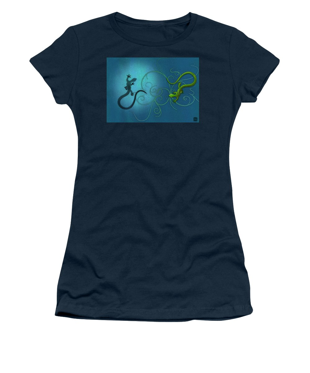 Gecko Women's T-Shirt featuring the digital art water colour print of twin geckos and swirls Duality by Sassan Filsoof