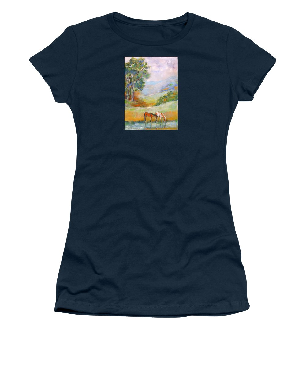 Horses Women's T-Shirt (Athletic Fit) featuring the painting Water Hole by Mary Armstrong