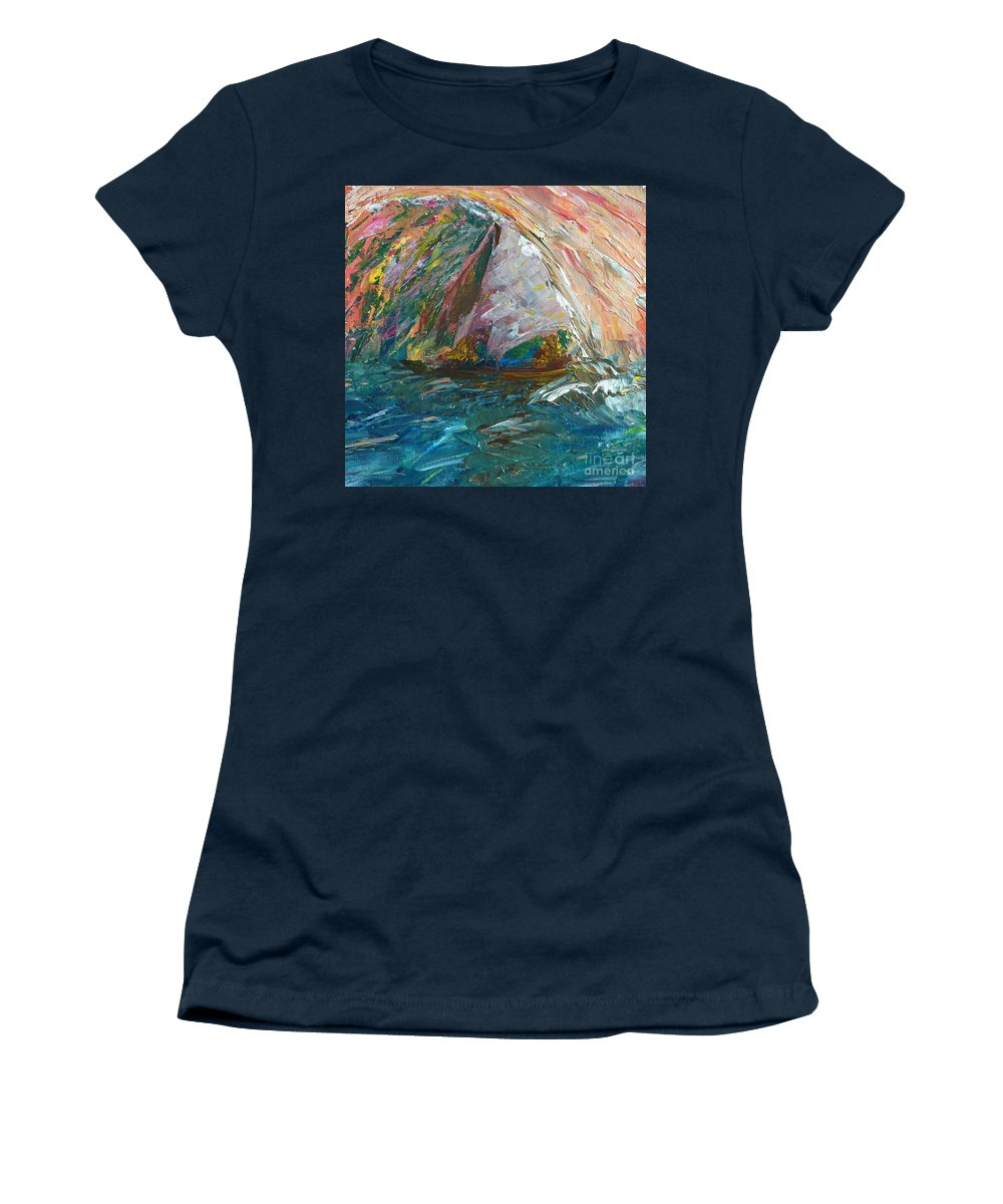 Seascape Women's T-Shirt featuring the painting Water Water Everywhere - Section by Declan Leddy