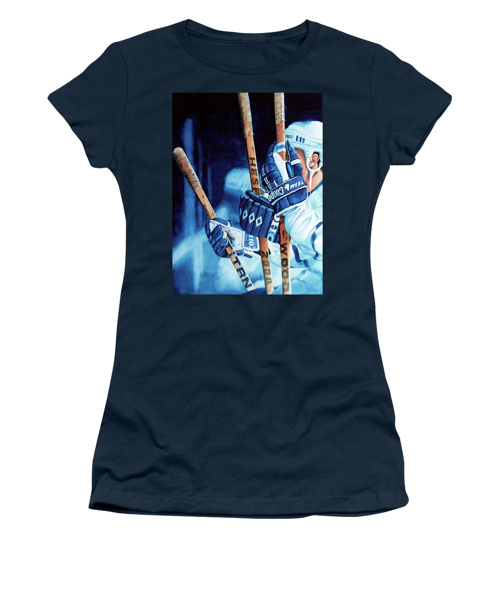 Sports Art Women's T-Shirt featuring the painting Weapons Of Choice by Hanne Lore Koehler