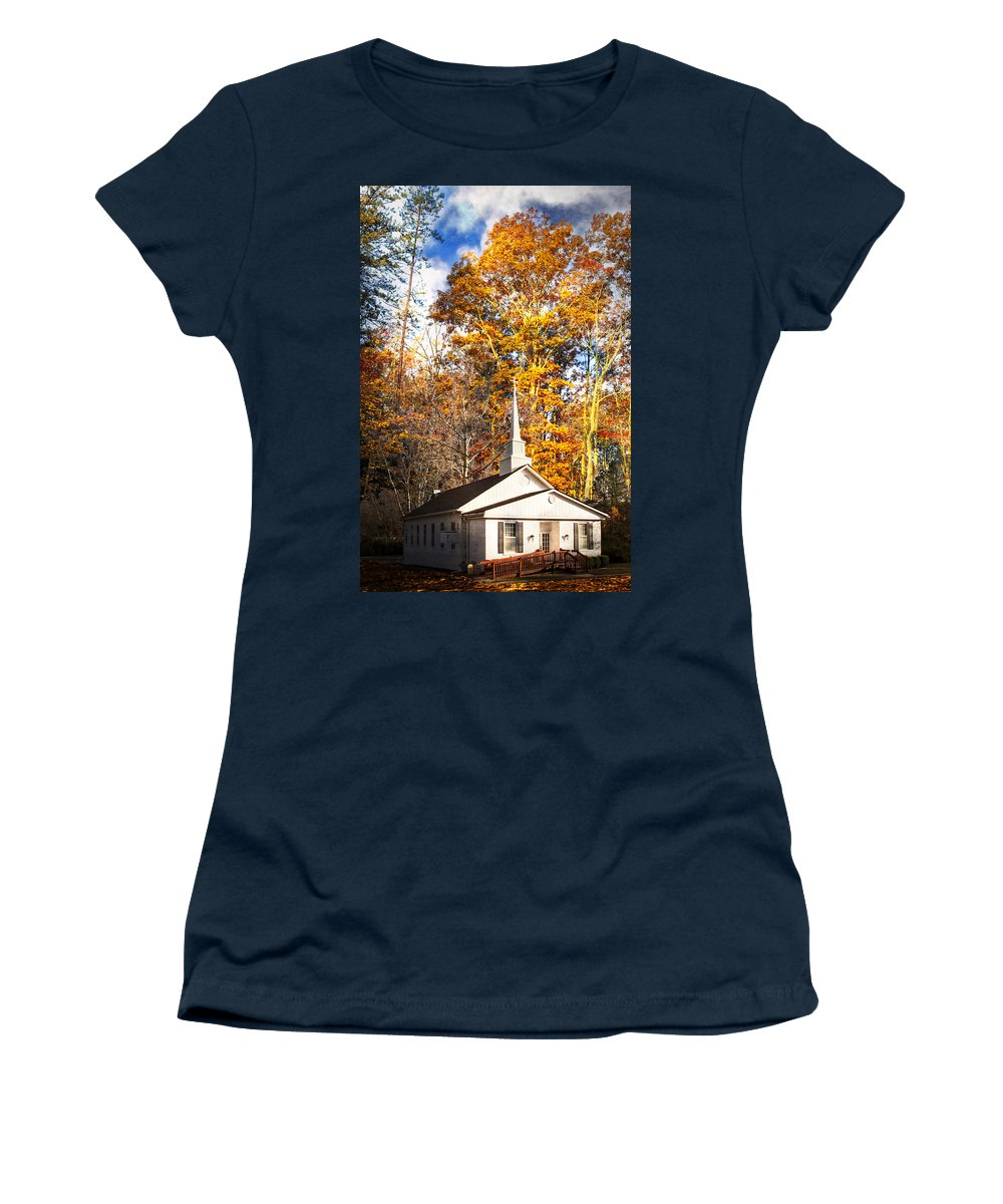 American Women's T-Shirt featuring the photograph White Church In Autumn by Debra and Dave Vanderlaan