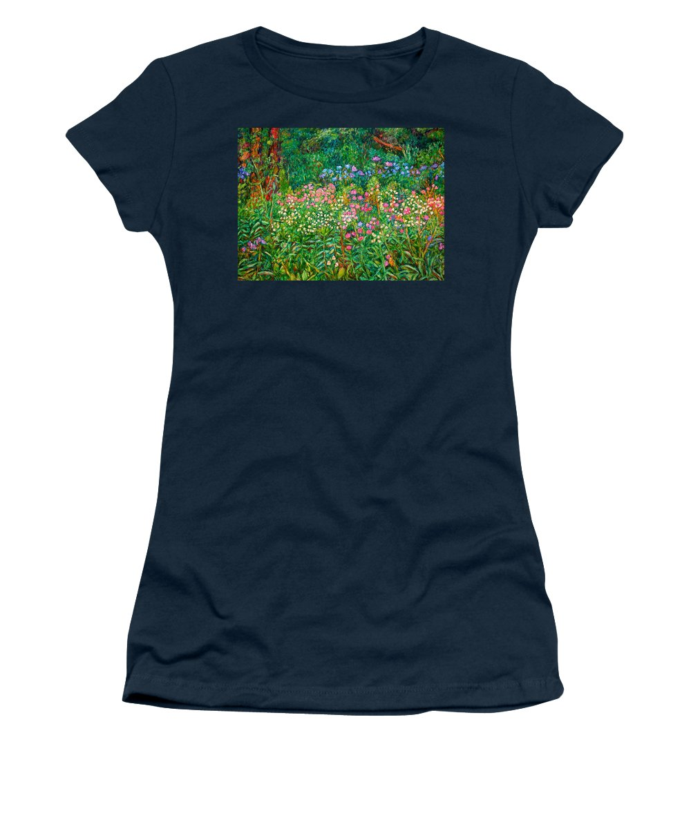 Floral Women's T-Shirt (Athletic Fit) featuring the painting Wildflowers Near Fancy Gap by Kendall Kessler