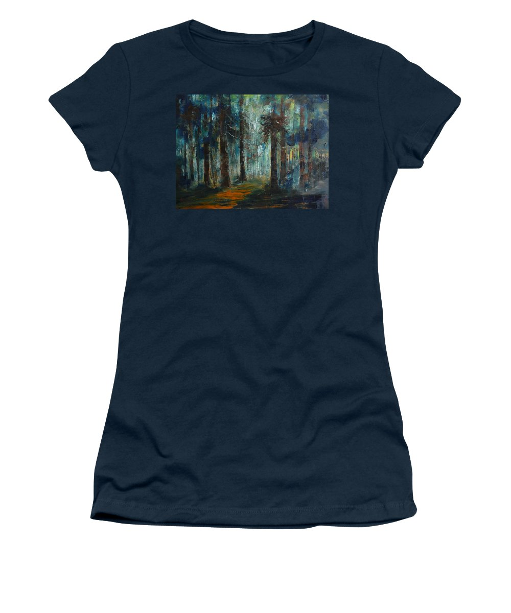 Landscape Women's T-Shirt featuring the painting Woodland At Wilsonia 02 by Pusita Gibbs