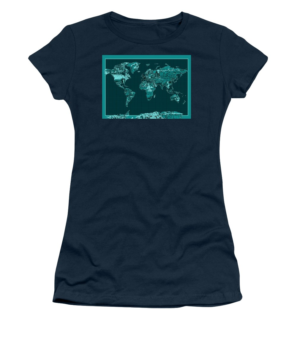Map Of The World Women's T-Shirt (Athletic Fit) featuring the painting World Map Landmark Collage 4 by Bekim Art