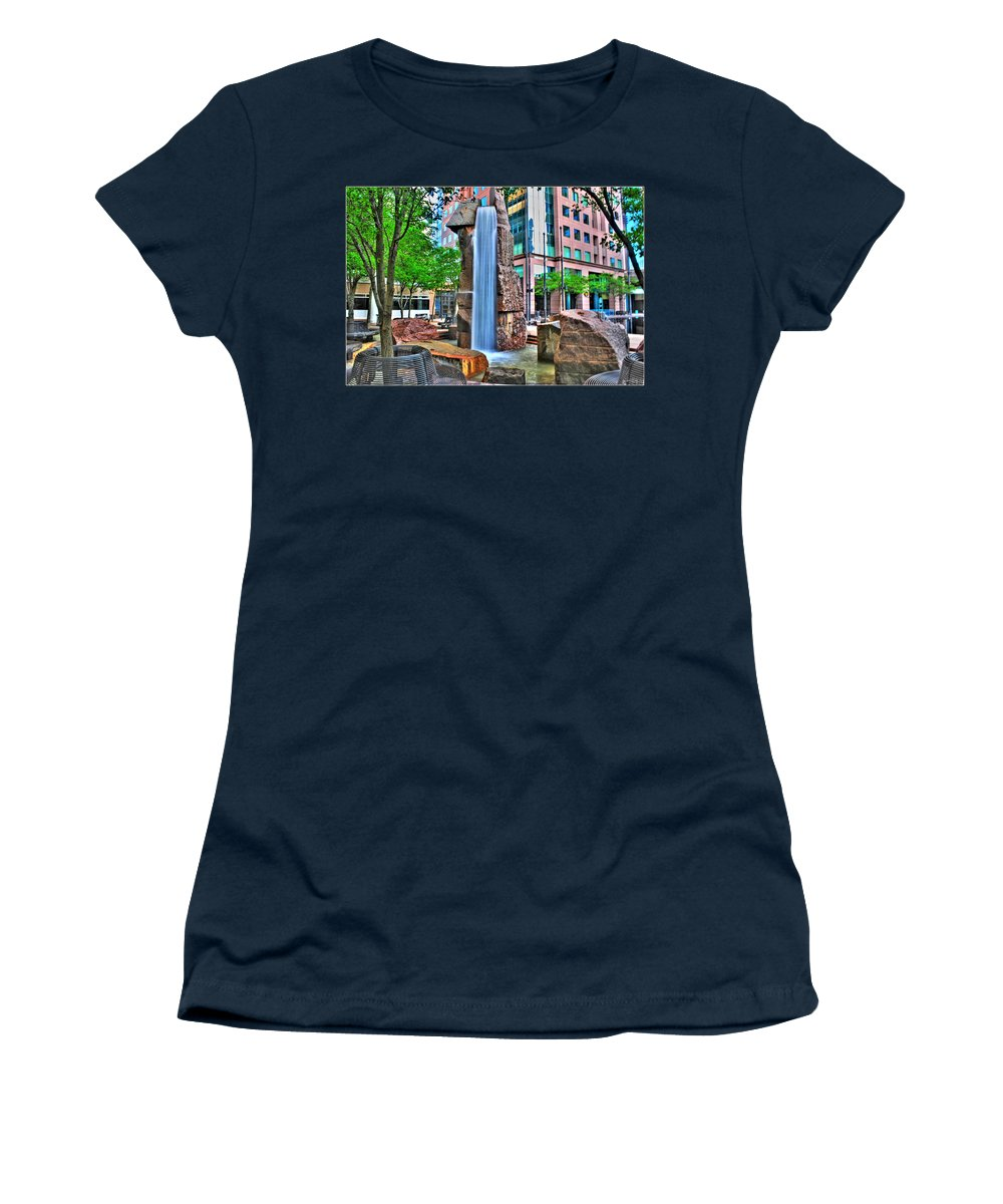Women's T-Shirt featuring the photograph 002 Fountain Plaza by Michael Frank Jr
