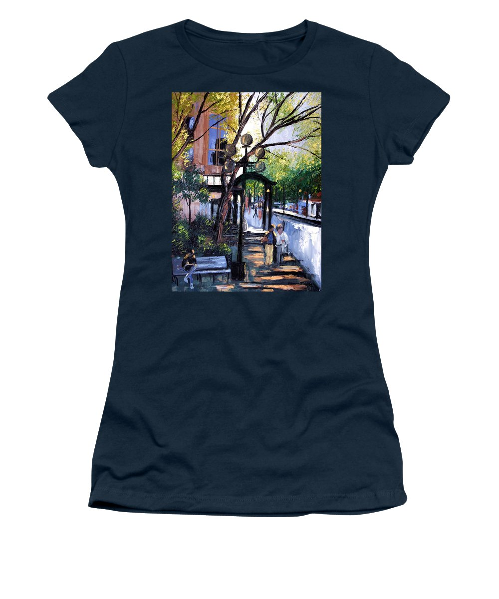 A Saturday Stroll Framed Prints Women's T-Shirt (Athletic Fit) featuring the painting A Saturday Stroll by Anthony Falbo