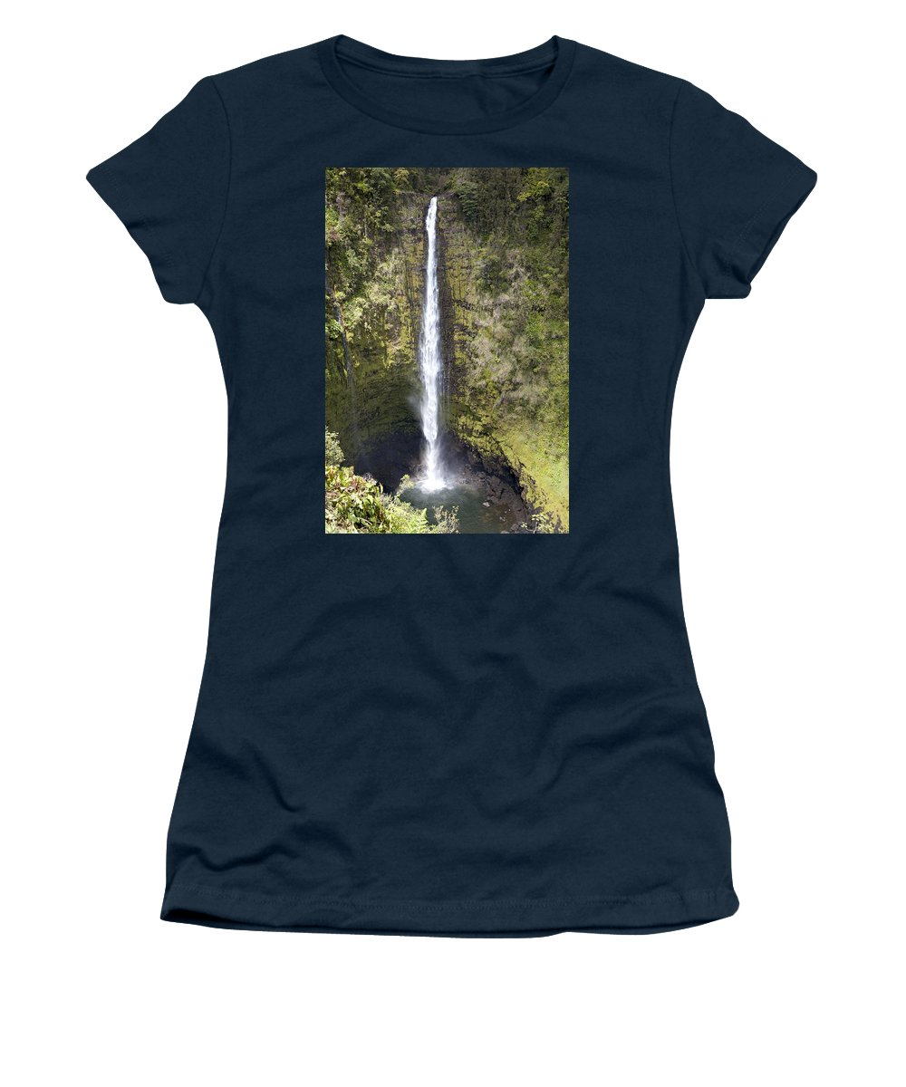 Akaka Women's T-Shirt featuring the photograph Akaka Falls Iv by Peter French