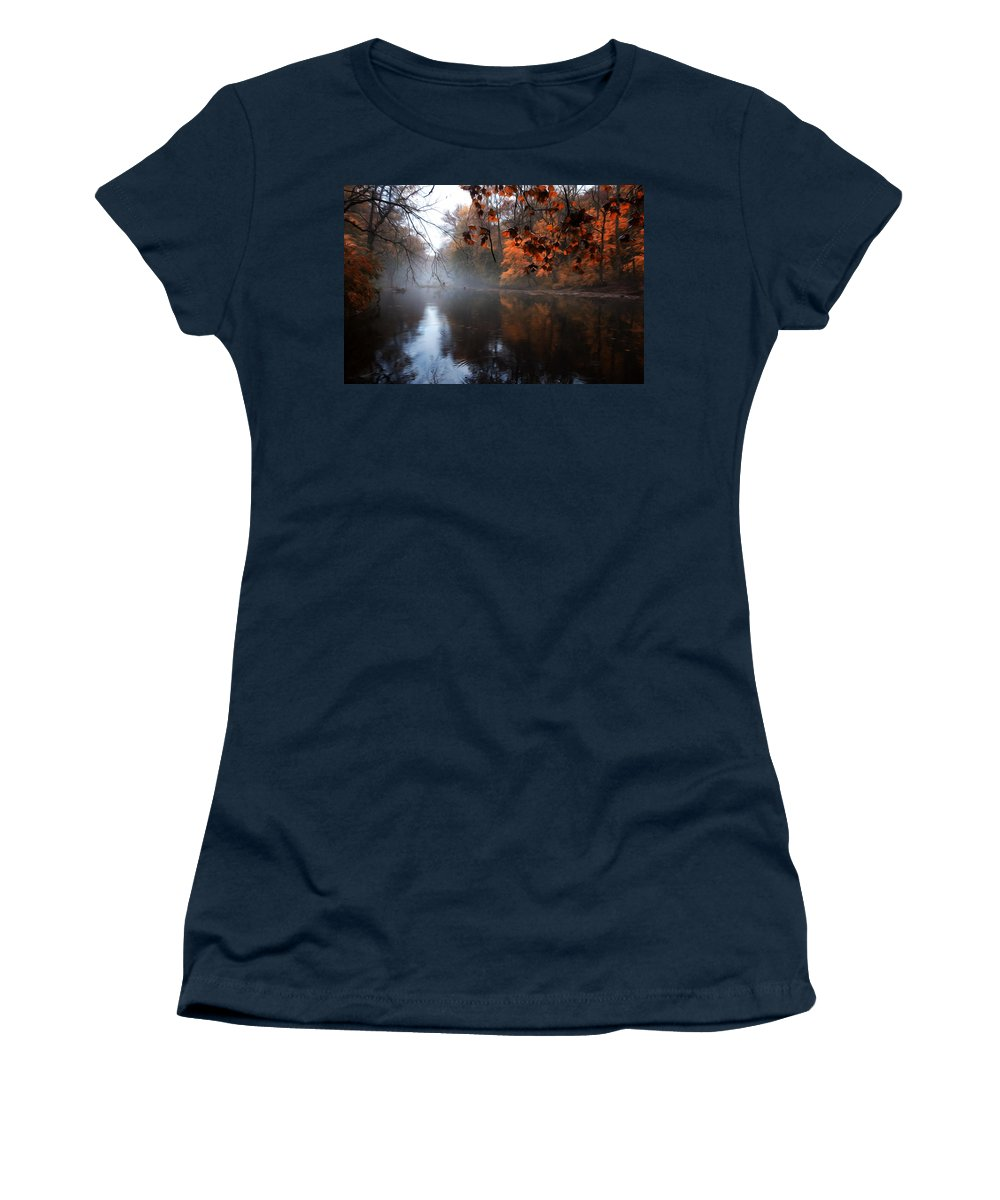 Autumn Morning By Wissahickon Creek Women's T-Shirt featuring the photograph Autumn Morning By Wissahickon Creek by Bill Cannon