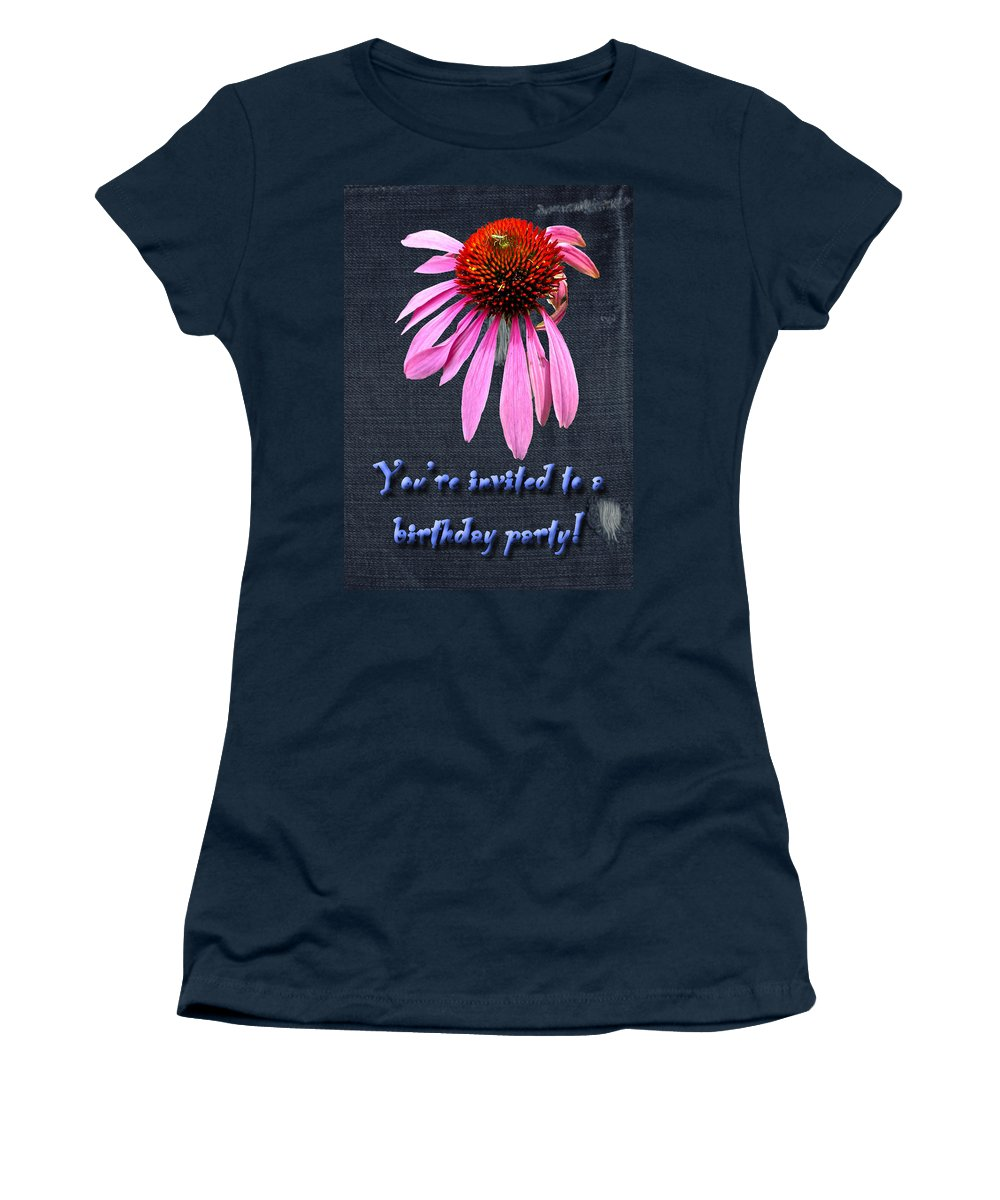 Invitation Women's T-Shirt featuring the photograph Birthday Party Invitation - Coneflower by Mother Nature
