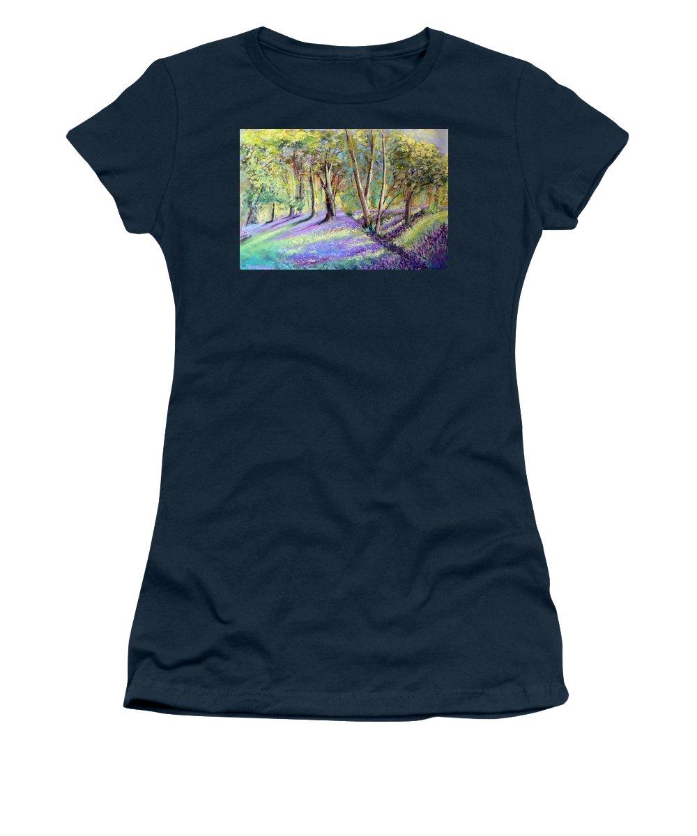 Bluebell Wood Women's T-Shirt featuring the photograph Bluebell Wood by Lynn Presland