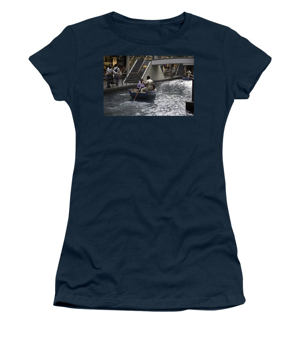 Action Women's T-Shirt featuring the photograph Canal Running Through The Length Of The Shoppes Running Under Th by Ashish Agarwal
