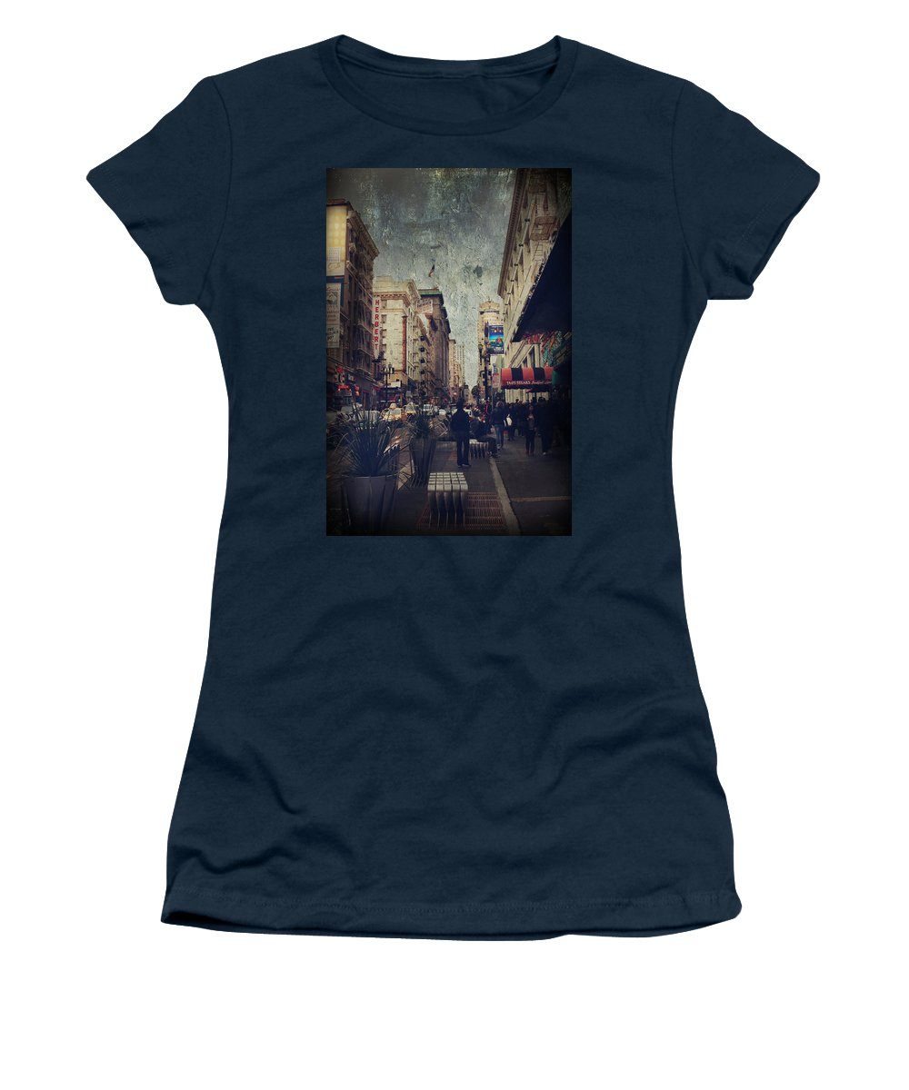 San Francisco Women's T-Shirt featuring the photograph City Sidewalks by Laurie Search