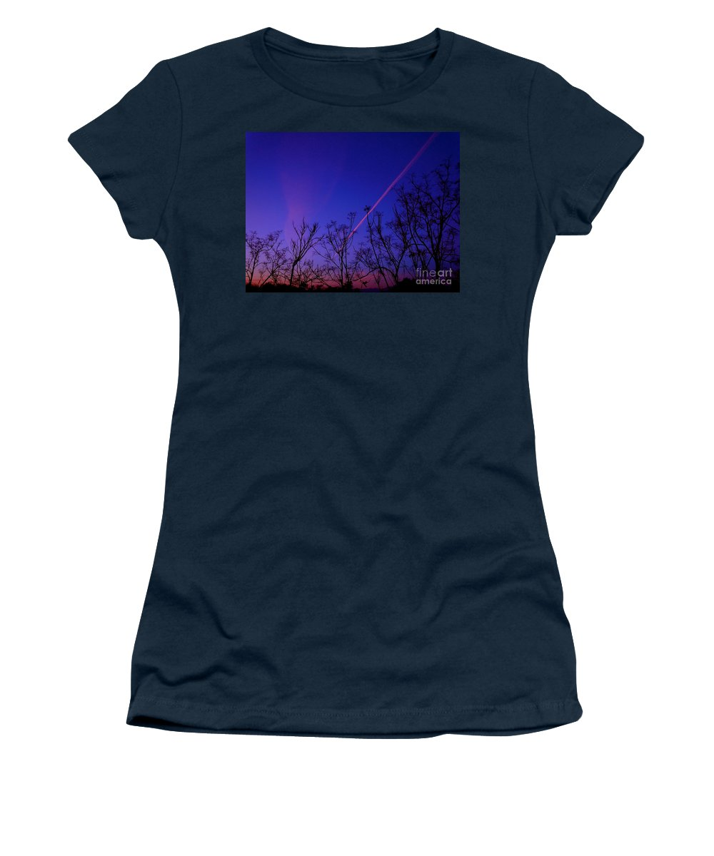 Contrail Women's T-Shirt featuring the photograph Contrail Contrast by Customikes Fun Photography and Film Aka K Mikael Wallin