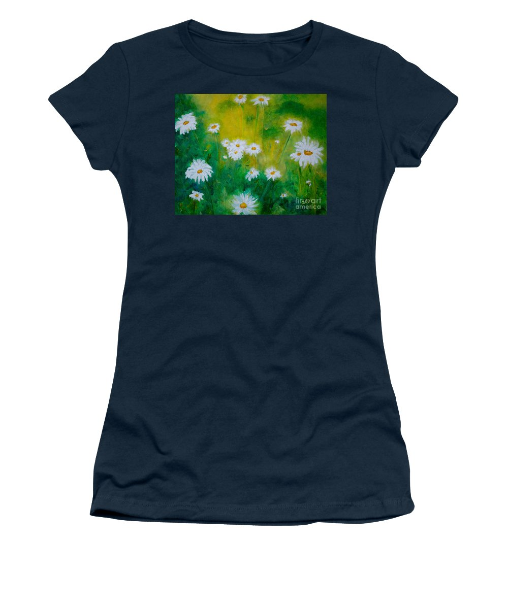 Daisies Women's T-Shirt featuring the painting Delightful Daisies by Claire Bull