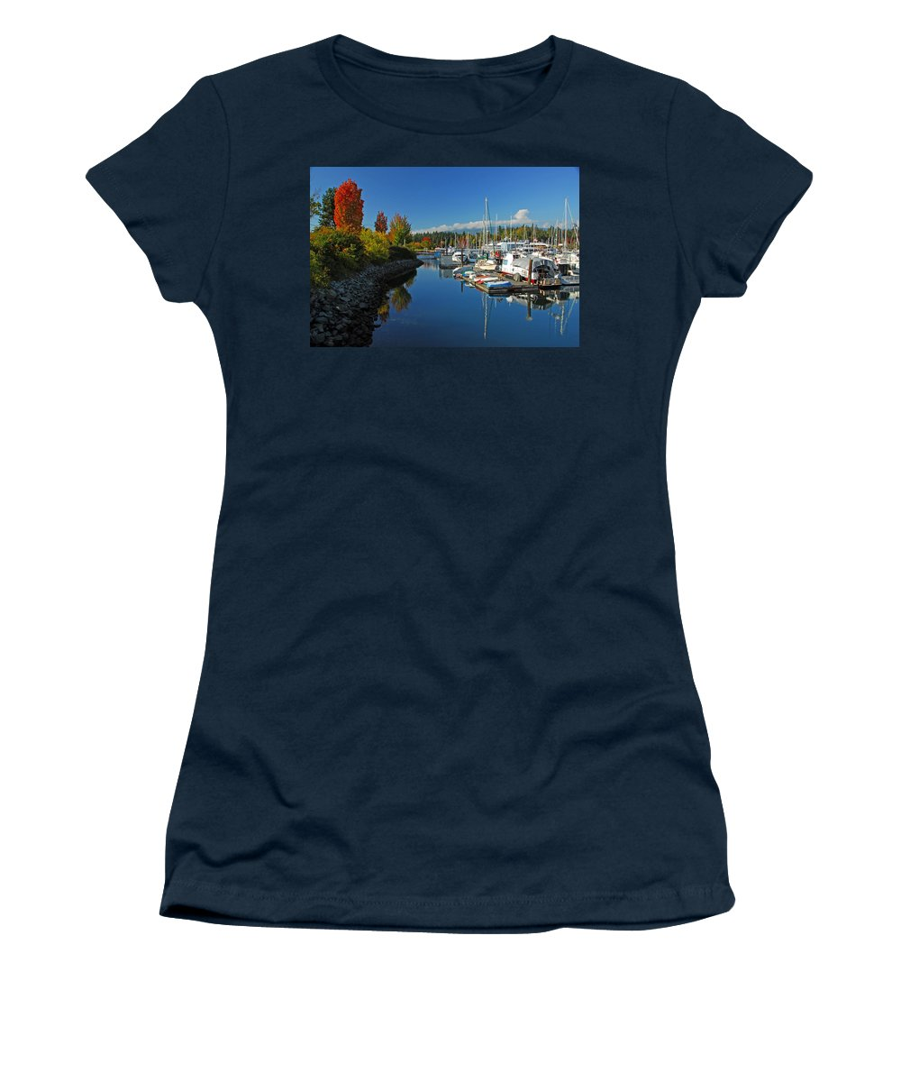 Harbors Women's T-Shirt featuring the photograph Fall Colors At English Bay by Lynn Bauer