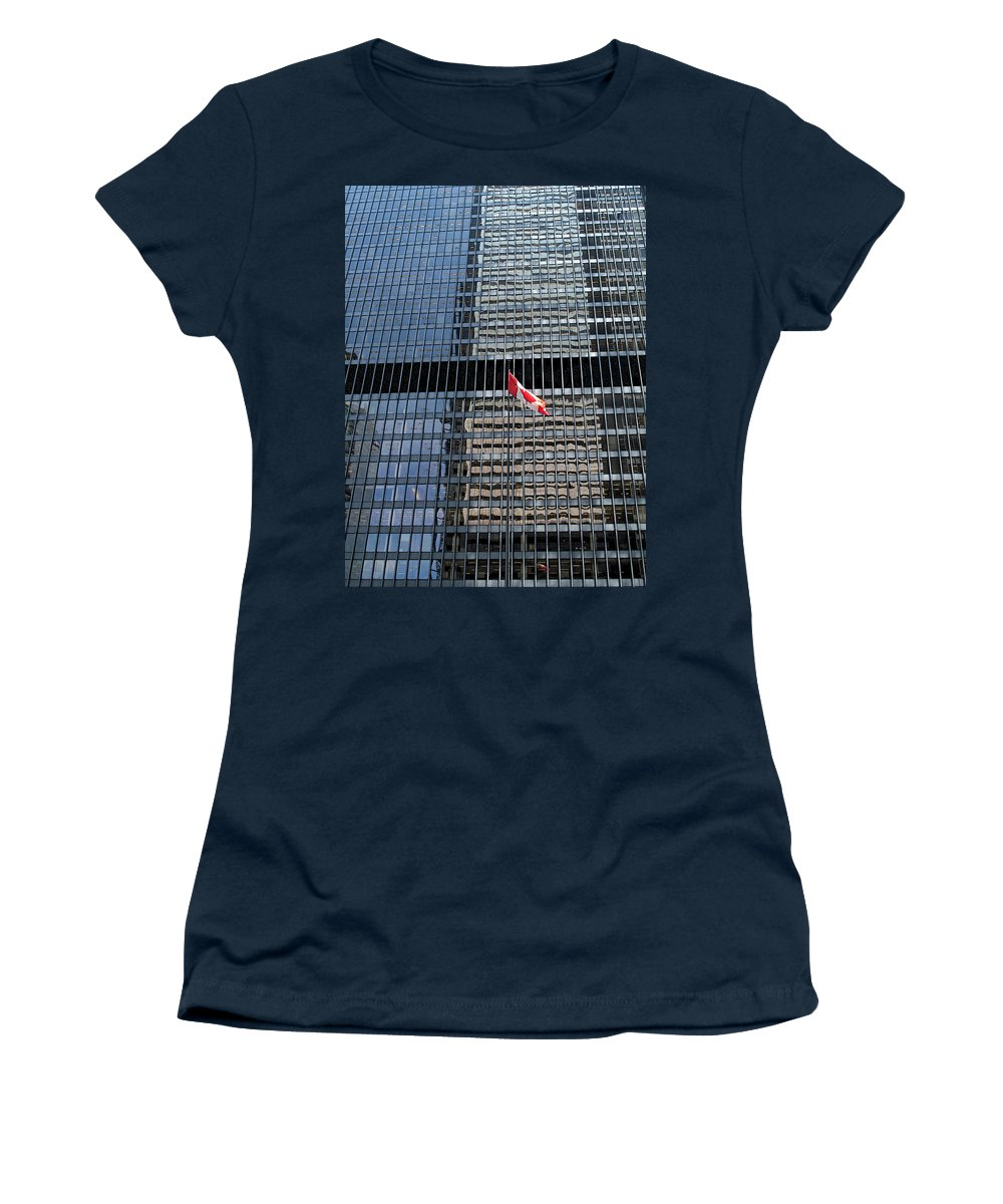 Canadian Flag Women's T-Shirt featuring the photograph Flag In The City by Ian MacDonald