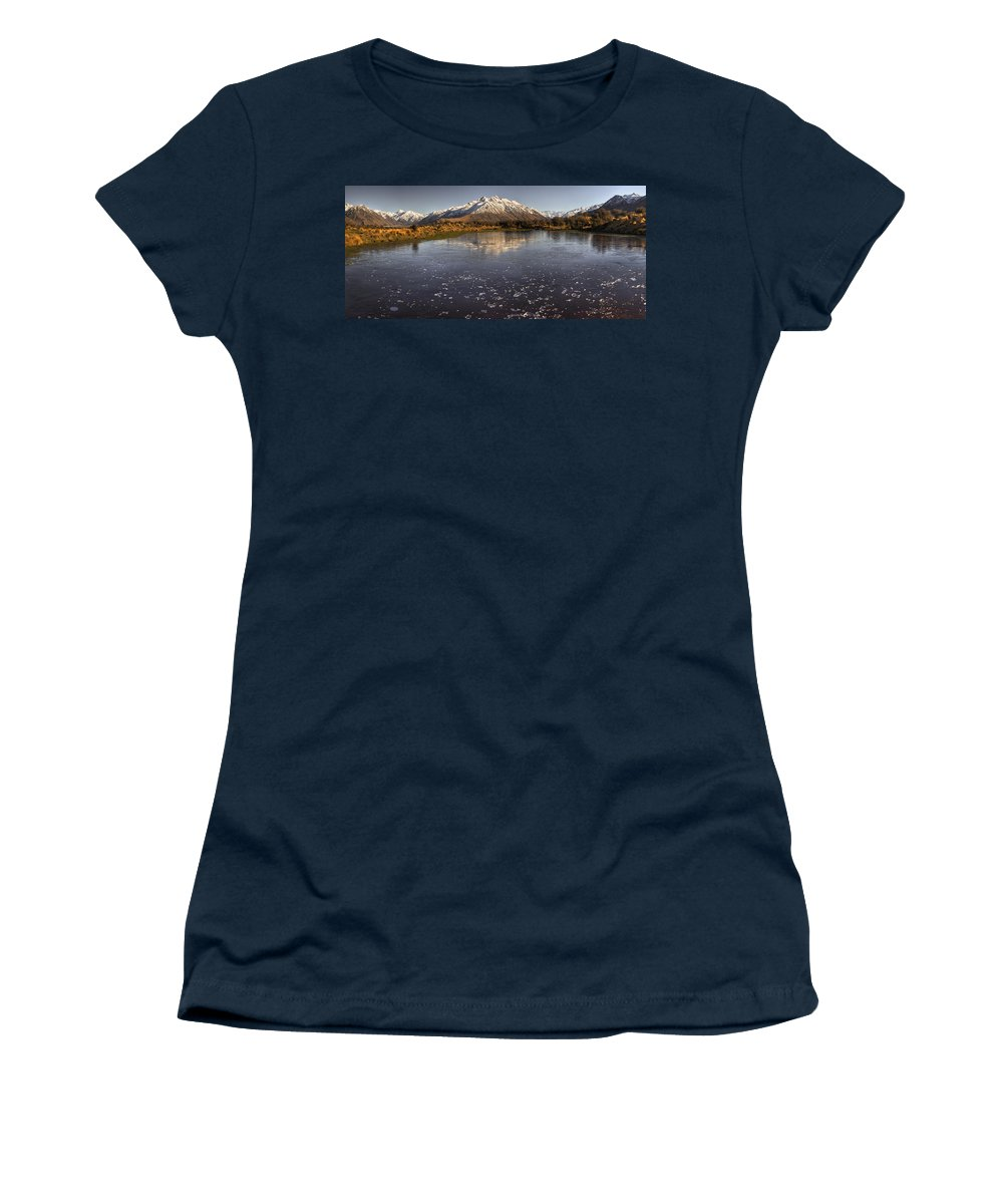 Hhh Women's T-Shirt featuring the photograph Frozen Tarn Seen From Mt Sunday by Colin Monteath