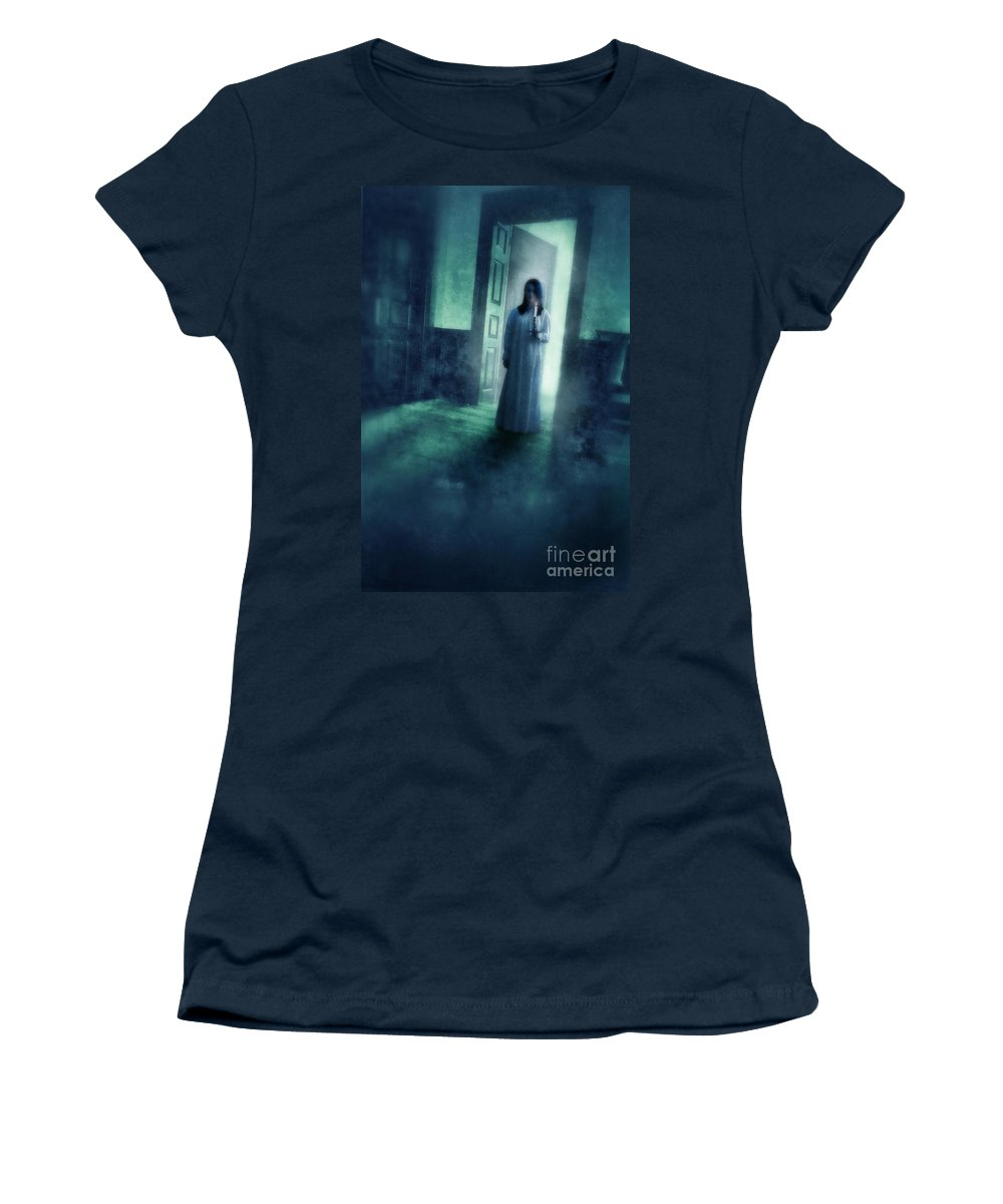 Woman Women's T-Shirt featuring the photograph Girl With Candle In Doorway by Jill Battaglia