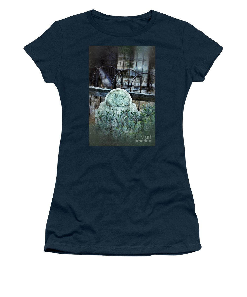 Iron Women's T-Shirt featuring the photograph Gravestone With Dove Carved by Jill Battaglia